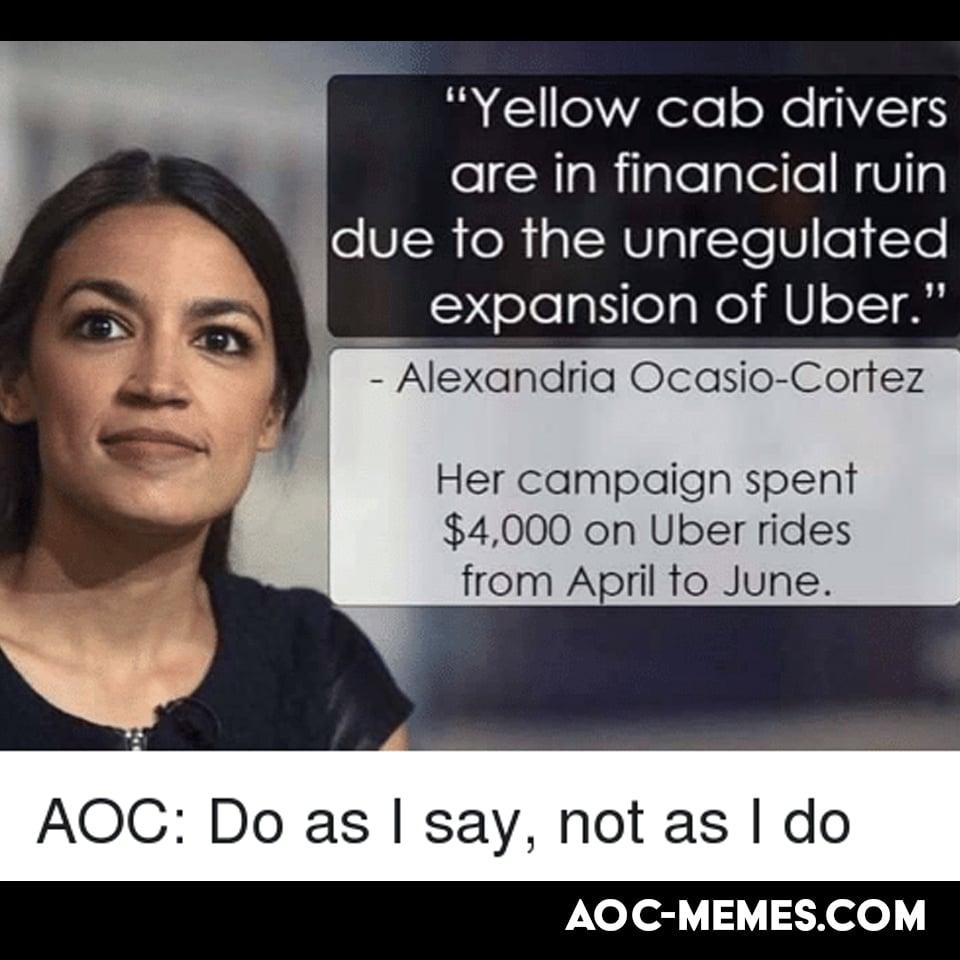 AOC Taxi meme Uber scandal