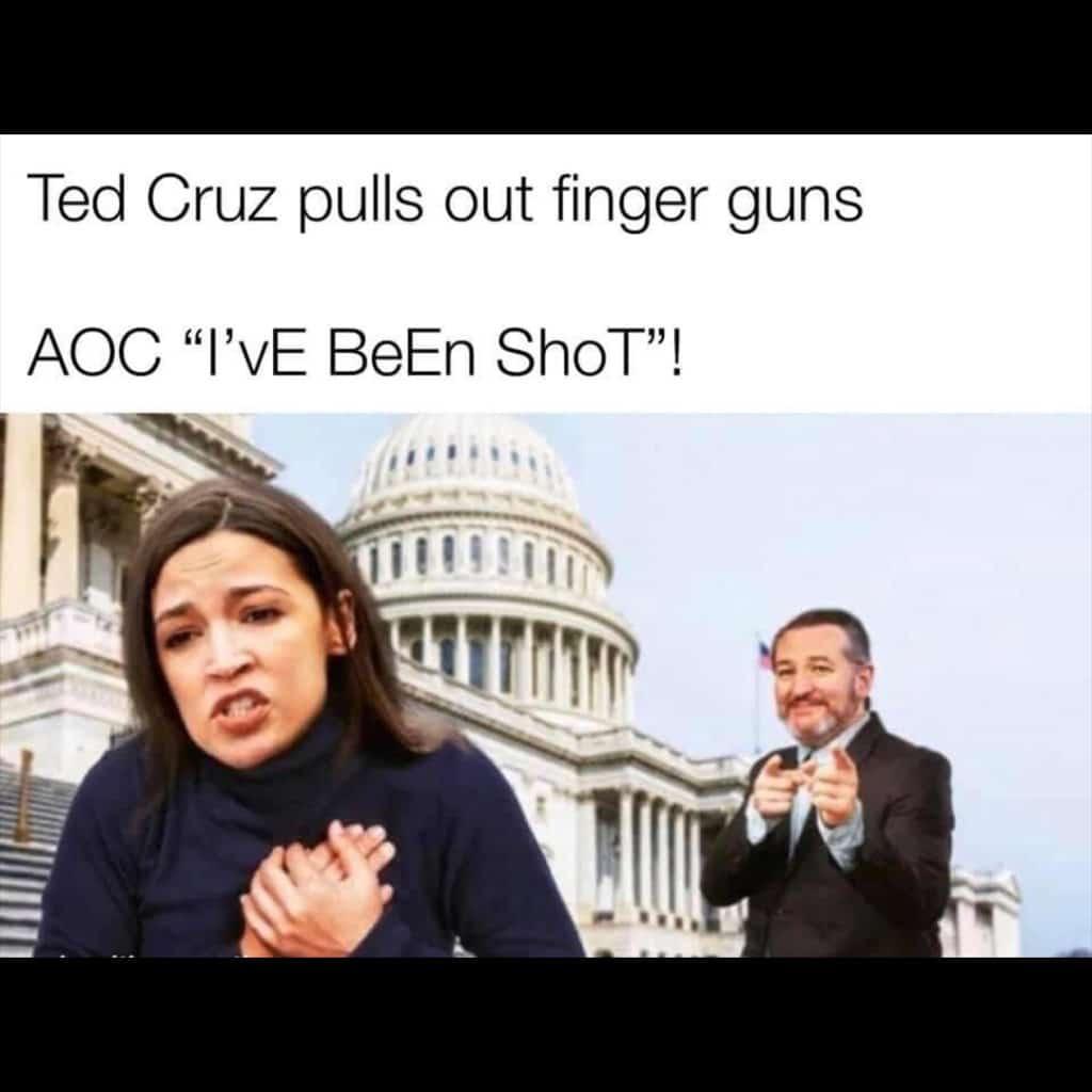 Alexandria Ocasio-Cortez acting like Ted Cruz shot her with his finger guns meme