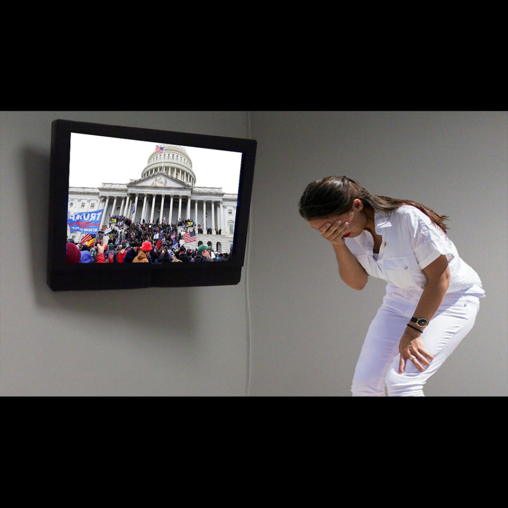 meme showing AOC upset over event on the TV