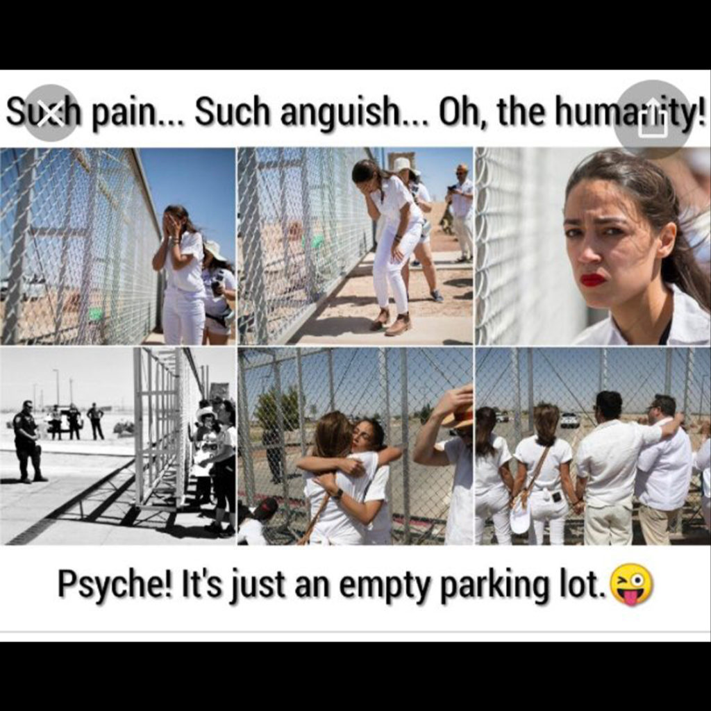 AOC faking being upset while looking at a parking lot